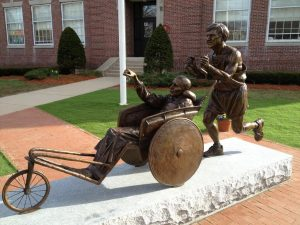 Statue honoring Dick and Rick Hoyt at the start of the Boston Marathon in Hopkinton, MA